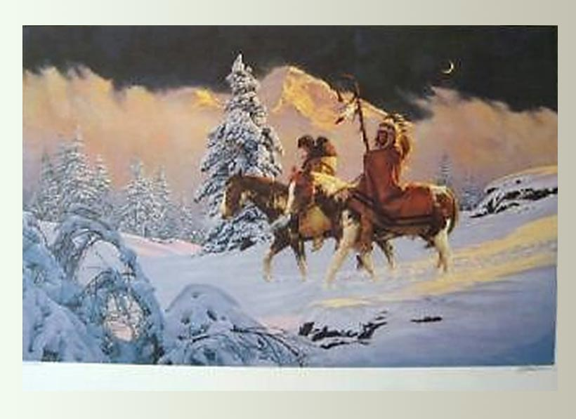 New Moon Horses Western Art by Chuck Ren